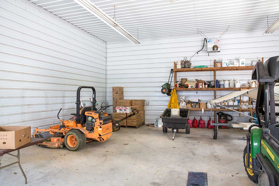 Garage Interior by Creek View Construction